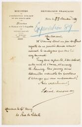 Demandes et lettres de remerciement pour le don d'objets en double du MET à des musées (1878-1910 environ), suite.