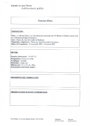 Constat d'état de prêt de l'objet 74.1987.1.2